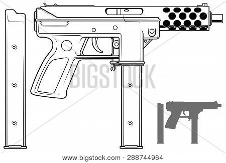 Graphic black and white detailed submachine gun with ammo clip. Isolated on white background. Vector icon set. Vol. 2 poster