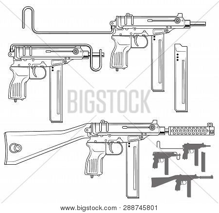 Graphic black and white detailed submachine gun with ammo clip and silencer. Isolated on white background. Vector icon set. Vol. 3 poster