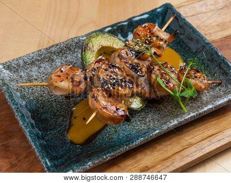 Shrimp With Avocado On The Grill, Kushiyaki Shrimp With Sauce Yakitori
