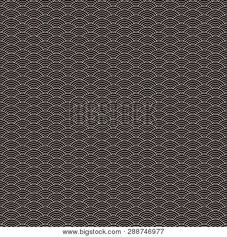 Classic Asian Golden And Black Squama Seamless Pattern For Textile Industry, Fabric Design. Chinese