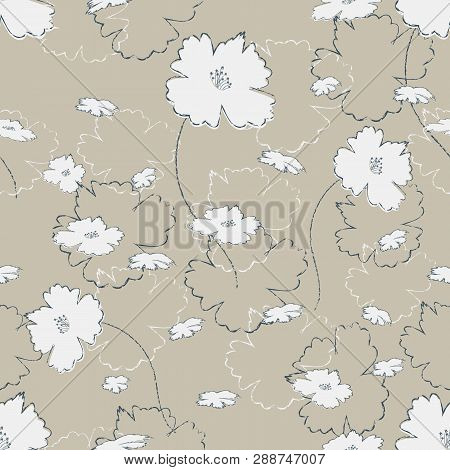Seamless Pretty Pattern In Cute White Flowers On Burlap Fond. Floral Print For Textile, Fabric Manuf