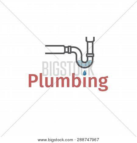 Clog In Pipe. Blocked Pipe. Mud In A Blocked Drain, Unclog, Water Leak. Vector Illustration.