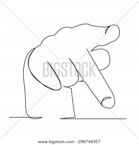 One Open Single Drawn Line Art Doodle Hand, Deaf, Sign, Finger, Language, Gesture. Isolated Hand-dra