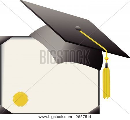 Graduation Mortar Board Cap & Diploma