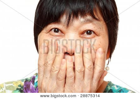 asian woman use hand cover her mouth