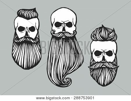 Set Of Hipster Skull Heads With Beards. Hand-drawn Doodle. Vector Illustration - Stock Vector. Hand