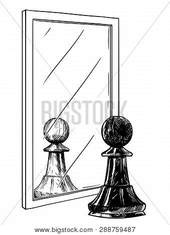 Cartoon Drawing And Conceptual Illustration Of Black Chess Pawn Reflecting In Mirror As White. Metap