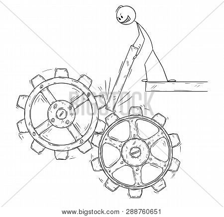 Cartoon Stick Figure Drawing Conceptual Illustration Of Man Or Businessman Trying To Stop Or Block M
