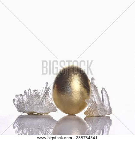 Easter Holiday Concept Background With Clear Quartz Gemstone