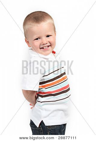 Little boy posing with smile on white