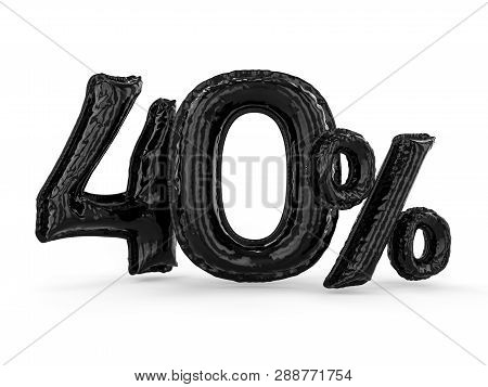 Black Forty Percent Made Of Inflatable Balloons. Percent Set. 3d Rendering