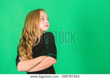 Little Girl Wear Dark Velvet Dress Looks Elegant And Adorable. Little Miss Elegancy. Child Long Curl