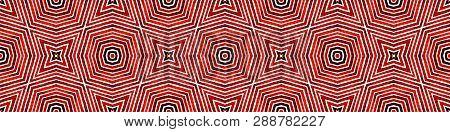 Wine red Seamless Border Scroll. Geometric Watercolor Frame. Artistic Seamless Pattern. Medallion Repeated Tile. Memorable Chevron Ribbon Ornament. poster
