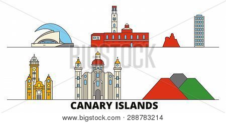 Spain, Canary Islands Flat Landmarks Vector Illustration. Spain, Canary Islands Line City With Famou