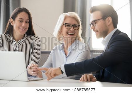 Happy Business Team People Colleagues Talking Laughing Working Together