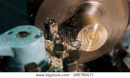 Turning Lathe In Action.facing Operation Of A Brass Blank On Turning Machine With Cutting Tool.old T