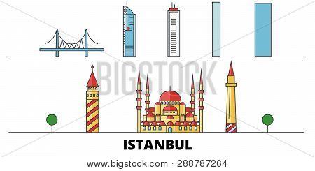 Turkey, Istanbul Flat Landmarks Vector Illustration. Turkey, Istanbul Line City With Famous Travel S