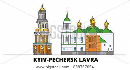 Ukraine, Kyiv, Pechersk Lavra Flat Landmarks Vector Illustration. Ukraine, Kyiv, Pechersk Lavra Line