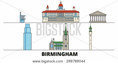 United Kingdom, Birmingham Flat Landmarks Vector Illustration. United Kingdom, Birmingham Line City
