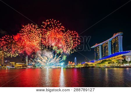 Singapore, Singapore - FEBRUARY 2, 2019: Fireworks show celebrating the Chinese new year in the bay area in SIngapore