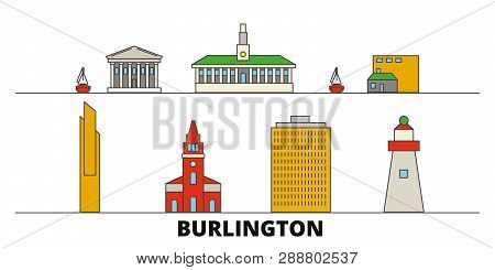 United States, Burlington Flat Landmarks Vector Illustration. United States, Burlington Line City Wi
