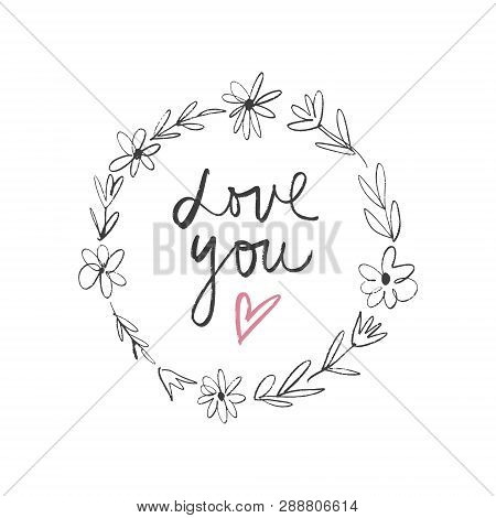 Cute Hand Drawn Boho Frame Template. Pastel Wreath Flowers. Decor Elements For Postcard, Poster And