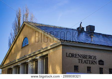 Gothenburg / Sweden - Feb 28 2019: The Exterior Facade Of Lorensberg Theatre In Gothenburg City. A B