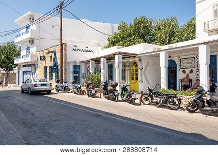 Sifnos, Greece - September 11, 2018: Motorbikes Parked On The Street In Apollonia, The Capital Of Si