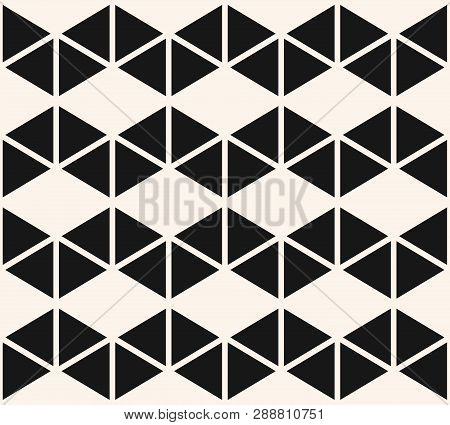 Geometric Triangles Seamless Pattern. Vector Black And White Abstract Texture With Triangular Shapes