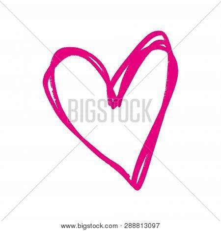 Heart Shape Frame, Pink Ink Brush Painting