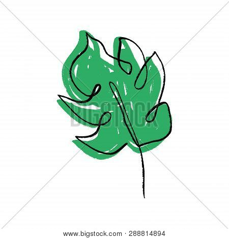 Stylized Monstera Leaf One Line Art. Contour Simple Drawing