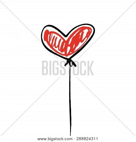 Single Red Heart Balloon Illustration, Isolated Element