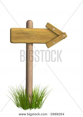 3D retro Holzpfeil Index für eine Spalte