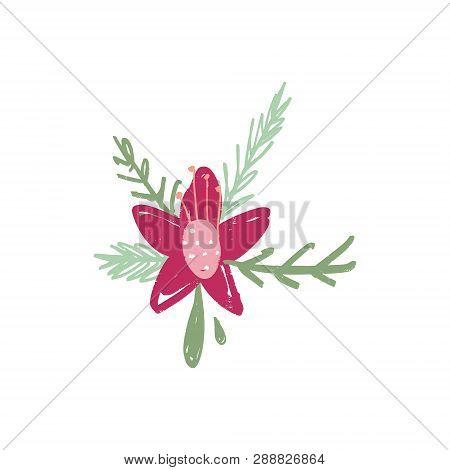 Doodle Hand Drawn Brush Paint Tropical Flower