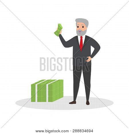 Businessman With Money. Happy Successfull Man Stand