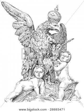 Royal eagle wearing a crown and two babies - a boy and a girl. Prague Castle - Entrance Gate. Vector illustration