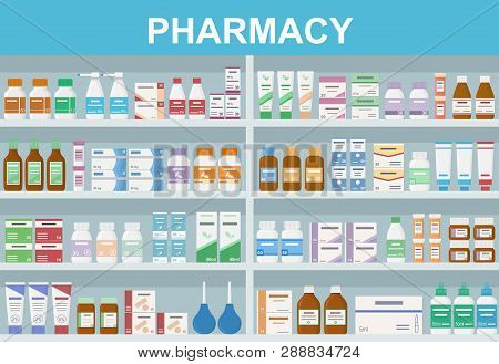 Pharmacy Shelves With Medicines. Concept Of Pharmaceutics And Medication. Flat Style Vector Illustra