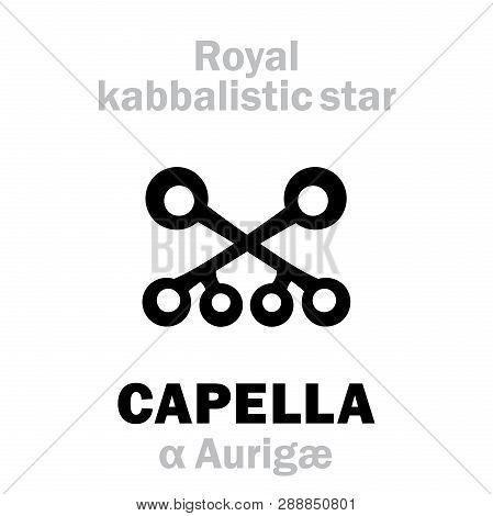 Astrology Alphabet: Capella (alpha Aurigae), Capella (the Little Goat), Arab.name: Alhayhoth. Hierog