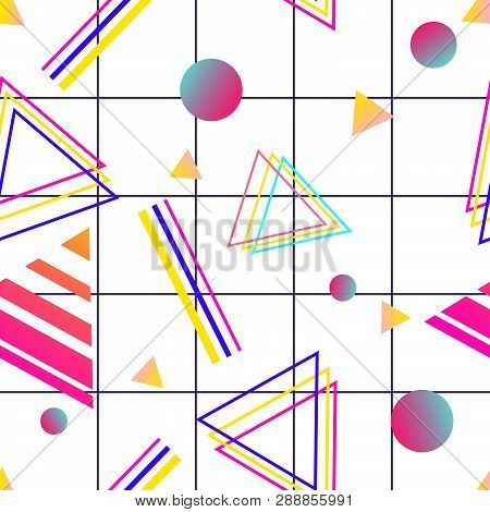 Vaporwave Seamless 80's Style Pattern With Geometric Shapes.