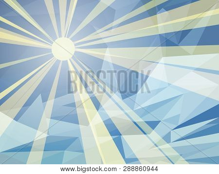 Vector Abstract Blue Background Of Sunny Day. Wallpaper Of Sky With Sun And Clouds In Low Poly Style
