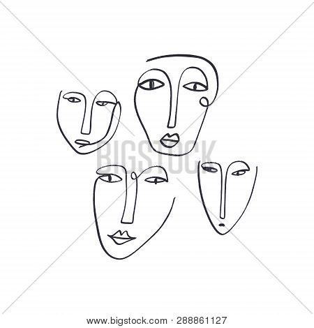 Abstract Continuous One Line Drawing Ink Faces. Modern Style Portraits