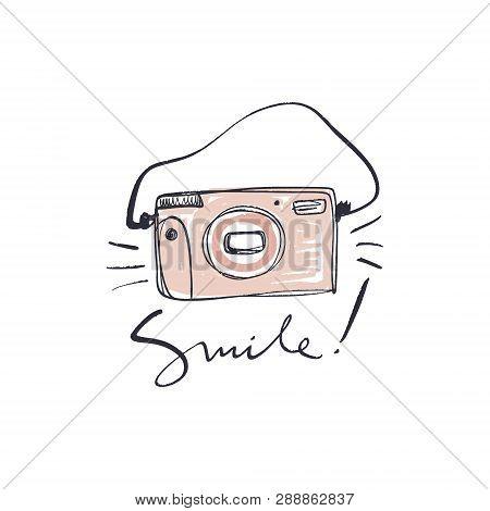 Brush Hand Painted Vintage Film Polaroid Camera, Isolated On White.