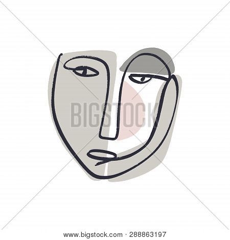 Simple Hand Trendy Line Men Or Woman Portrait Art. Print For Clothes, Textile And Other
