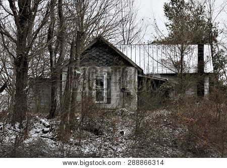 An Old Abandoned House Somewhere In Kentucky, Only Visible When Winter Cold Has Caused The Vegetatio
