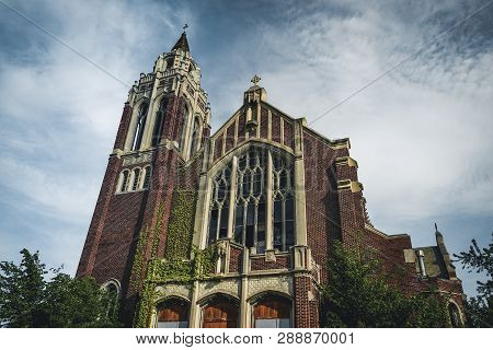 Detroit, Michigan, May 18, 2018: Outside View Of Abandoned And Damaged Church St. Agnes In Detroit.