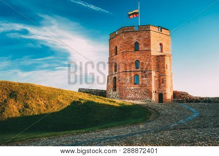 Tower Of Gediminas Gedimino In Vilnius, Lithuania. Historic Symbol Of The City Of Vilnius And Of Lit