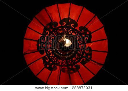 Closeup Red Lanna Lantern Lamp In Loy Kratong Festival, Or Call Yee Peng Festival At Northern Of Tha