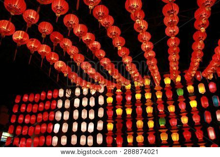 Colorful Lanna Lantern Lamp In Loy Kratong Festival, Or Call Yee Peng Festival At Northern Of Thaila