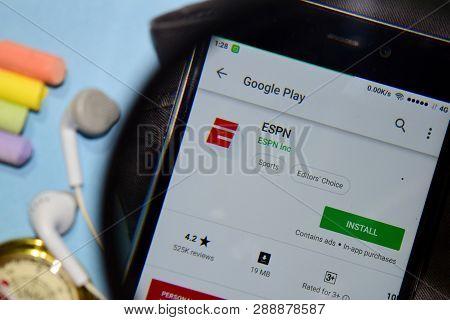 Bekasi, West Java, Indonesia. March 12, 2019 : Espn Dev App With Magnifying On Smartphone Screen. Es