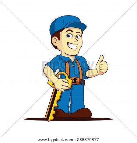 Friendly Cool Locksmith Thumbs Up Cartoon Character
